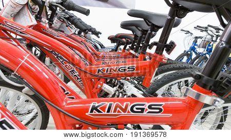 Eskisehir, Turkey - June 05, 2017: Closeup Of Red Bicycle Frames In Carrefour Supermarket In Eskiseh