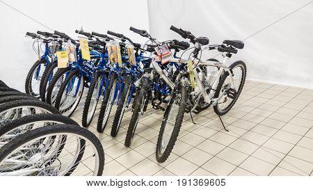 Eskisehir, Turkey - June 05, 2017: Row Of Mountain Bicycles In Carrefour Supermarket In Eskisehir, T