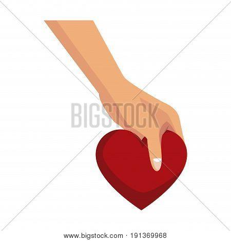 hand holds love heart romantic symbol vector illustration