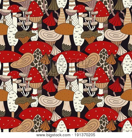 Hand drawn seamless pattern of mushroom and toadstools. Vector illustration for fabric or wrap paper design.
