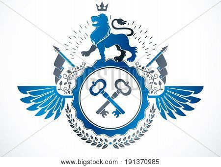 Heraldic sign created using vector elements heraldry insignia composed with wild lion illustration security keys and monarch crown.