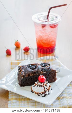 Chocolate Cake (brownie) And Strawberry Juice Food And Drink Without Sugar - Fat