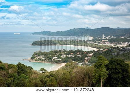 Three tropical white sandy beaches with turquoise clear water and palm trees. Top view. Aerial view of Kata Karon Patong View Point Phuket South of Thailand