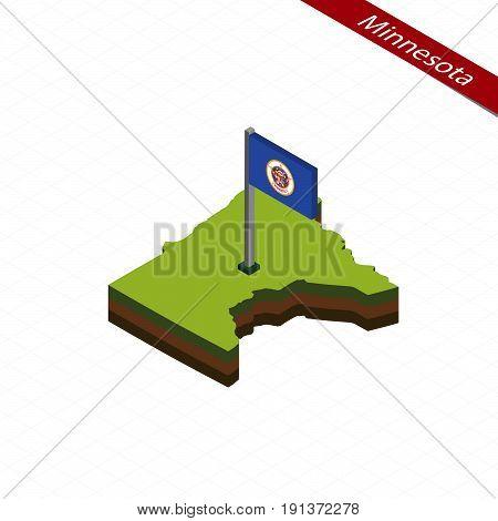 Minnesota Isometric Map And Flag. Vector Illustration.
