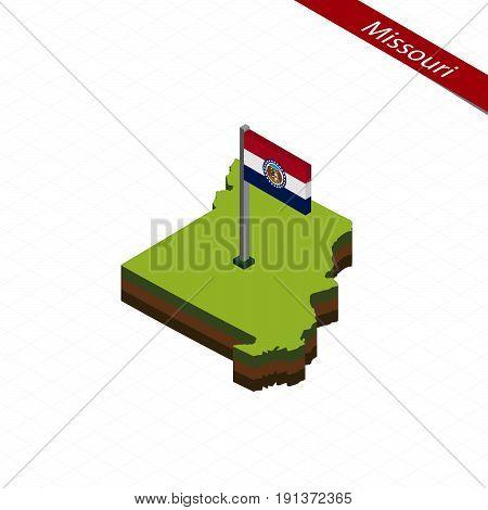 Missouri Isometric Map And Flag. Vector Illustration.