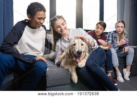 Group Of Teenagers Having Fun Together With Golden Retriever Dog Indoors, Teenagers Having Fun Conce
