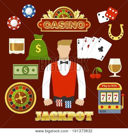 Flat casino elements set with dealer chips money roulette playing cards slot machine cocktail horseshoe isolated vector illustration