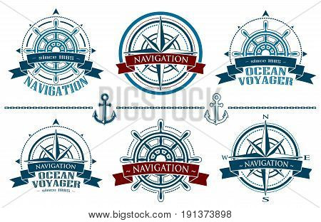 Nautical logos set. Corporate logo with windrose. Emblem with red banner isolated on white backgriund. Navigation symbol. Vector illustration.