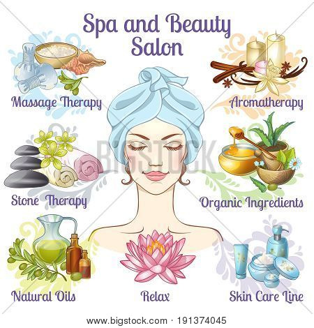 Spa salon composition with massage therapy aromatherapy relax natural oils stone therapy descriptions vector illustration