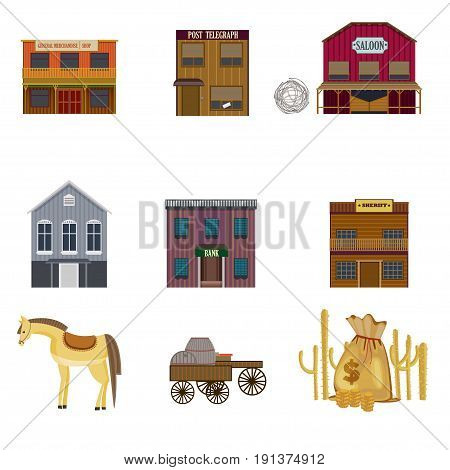Colorful wild west elements set with buildings horse carts with wooden barrels cactuses and money bag isolated vector illustration