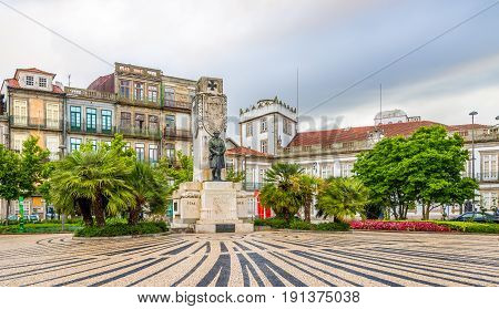 PORTO,PORTUGAL - MAY 13,2017 - Carlos Alberto place with World War I memorial in Porto .Porto is located along the Douro river estuary in Northern Portugal.