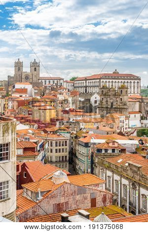 PORTO,PORTUGAL - MAY 13,2017 - View at the roofs and streets of Porto. Porto is one of the oldest European centres and its historical core was proclaimed a World Heritage Site by UNESCO in 1996.