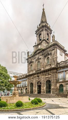 PORTO,PORTUGAL - MAY 13,2017 - Trindade church in the streets of Porto. Porto is one of the oldest European centres and its historical core was proclaimed a World Heritage Site by UNESCO in 1996.