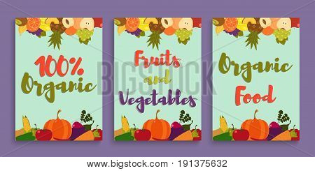Fruits and vegetables. Posters or flyers with fruits and vegetables. Vector illustration in a flat style