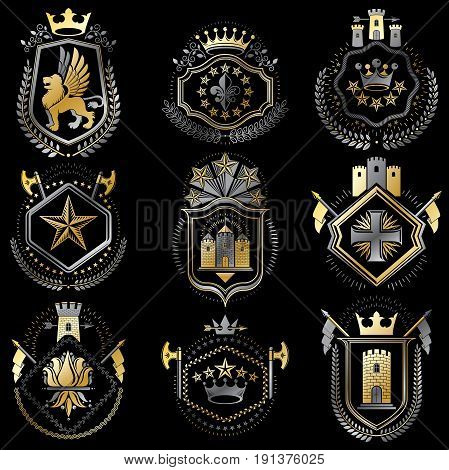 Set of luxury heraldic vector templates. Collection of vector symbolic blazons made using graphic elements royal crowns medieval castles armory and religious crosses.