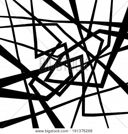 Vector geometric abstract confusion background in black