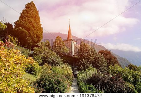 Church at Geneva Lake Riviera in Montreux Vaud canton Switzerland