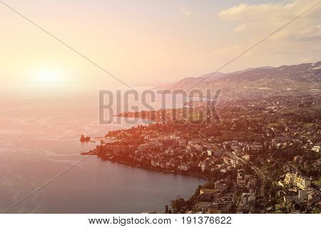 Beautiful view Montreux city on a sunny summer day Canton of Vaud Switzerland