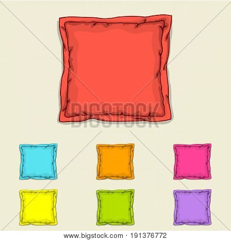 Bed pillow templates. Set of multicolored pillows. Sketch illustration.