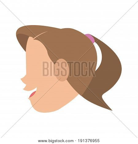 happy woman with ponytail sideview icon image vector illustration design