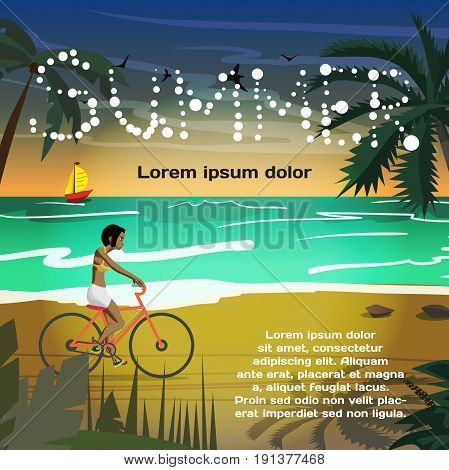 Summer vacation concept background with space for text. Young afro woman rides red bike on summer beach at sunset. Flat vector cartoon illustration