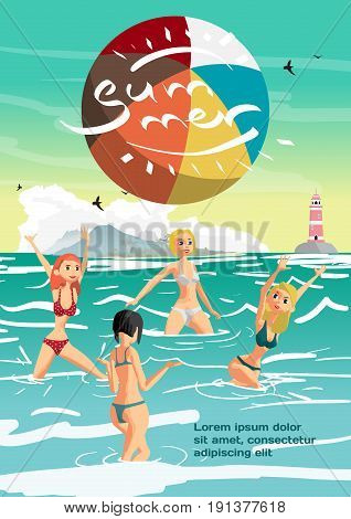 Summer vacation concept background with space for text. Women in a bikini play volleyball in the sea. Flat cartoon vector illustration
