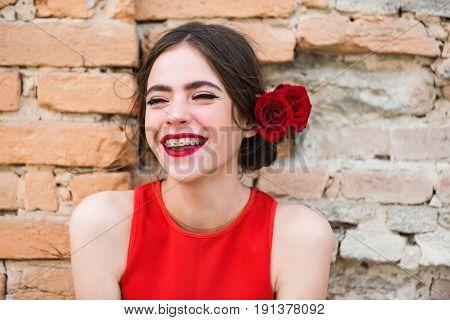 Girl With Dental Braces On Teeth