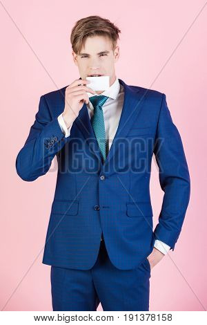 Confident Businessman Hold Credit Or Business Card, Business Etiquette