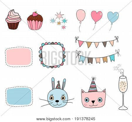 Cute set with kitty bunny party and birthday design elements