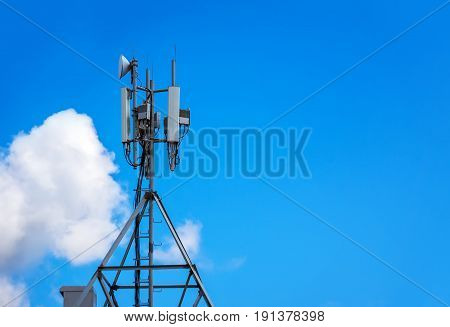 Upward Of Communication Radio Antenna Tower