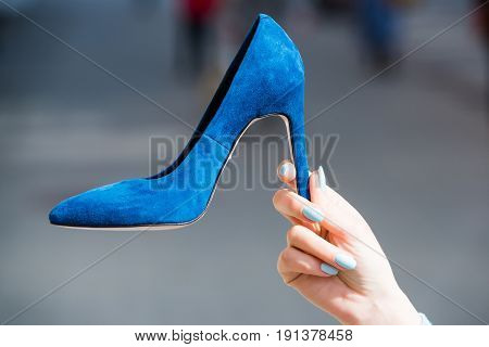 Shoe Blue Color Suede On Female Hand