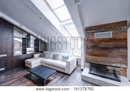 Modern apartment interior in loft style. living room interior.