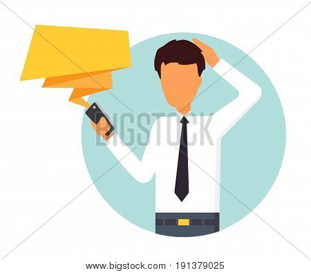 Man receive worrying message. People character vector illustration.