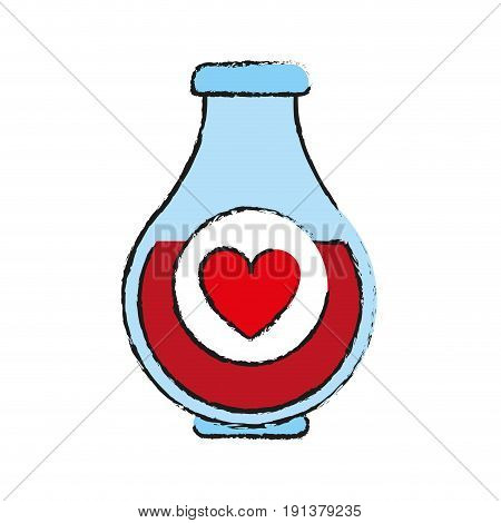heart labeled flask or potion love valentines day related icon icon image vector illustration design  sketch style