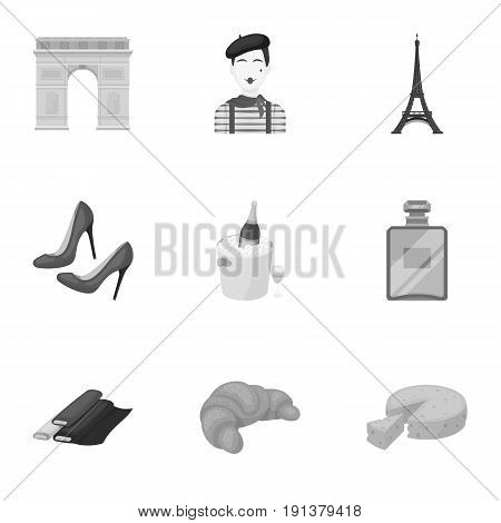 Attractions in France. Things to learn about France. France country icon in set collection on monochrome style vector symbol stock web illustration.