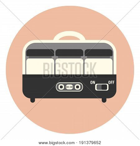 Flat Yogurt Maker Machine Icon, Kitchen Appliance