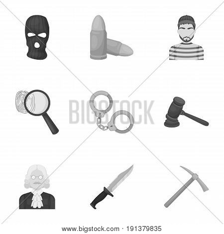 Set of images about the prison and prisoners. Surveillance of thieves, court, crime and punishment. Prison icon in set collection on monochrome style vector symbol stock web illustration.