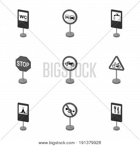 Set of road signs. Signs of prohibition, permission, priority. Road signs icon in set collection on monochrome style vector symbol stock web illustration.