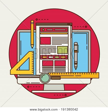 flat vector illustration of web design and development concepts. Elements for mobile and web applications.