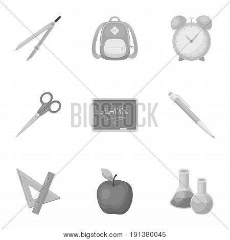 Set of pictures about the school. Study training. Supplies for school.Outfit of the student. School and eduacation icon in set collection on monochrome style vector symbol stock web illustration.