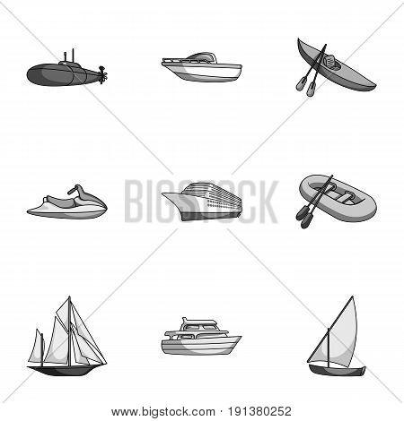 Sea transport, boats, ships. To transport people, thunderstorms. Ship and water transport icon in set collection on monochrome style vector symbol stock web illustration.