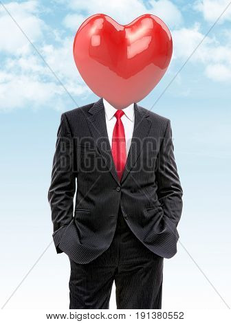 business man with big heart instead of head 3d illustration