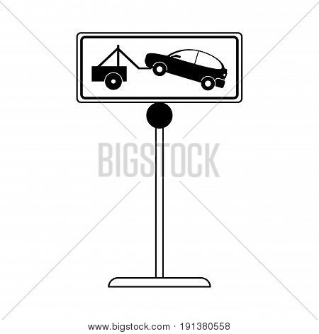 car towing no park zone parking sign icon image vector illustration design  black line