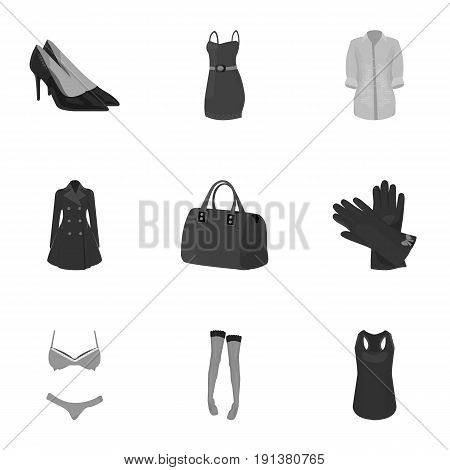 Pictures about types of women's clothing. Outerwear and underwear for women and girls. Woman clothes icon in set collection on monochrome style vector symbol stock web illustration.