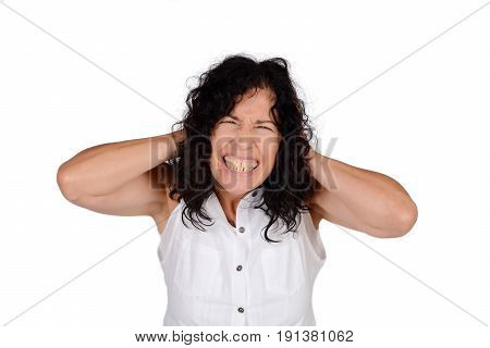 Woman Covering Her Ears.