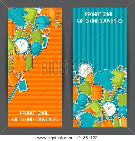 Advertising banners with promotional gifts and souvenirs.