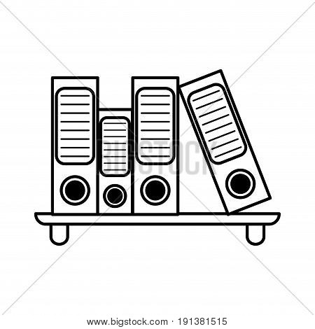 archive folders office supplies related icon image vector illustration design  black line