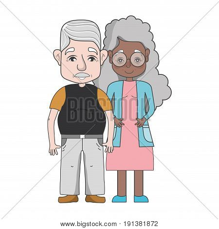 old people couple together forever vector illustration