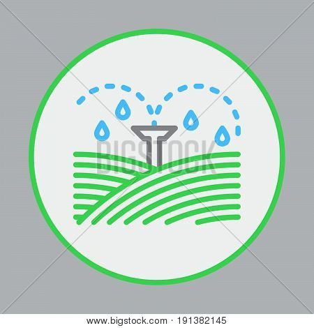 Irrigation sprinklers filled outline icon round colorful vector sign circular flat pictogram. Symbol logo illustration