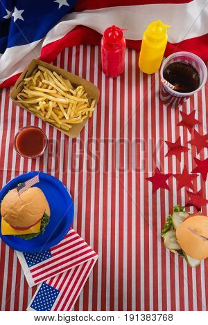 Upward view foods and drink arranged on table